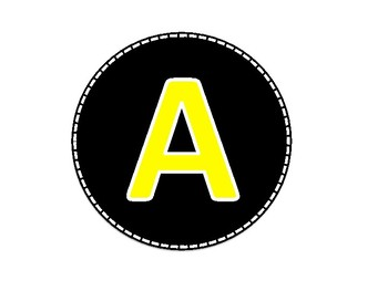 Black and Yellow Colored Alphabet Uppercase Letters and Numbers (1-40)