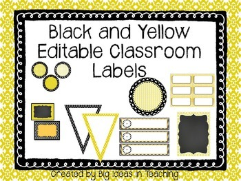 Black and Yellow Editable Classroom Labels...Print Rich Classroom!