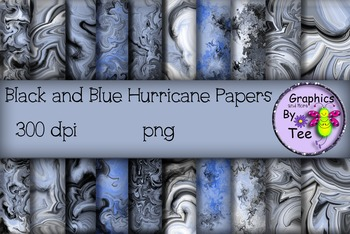 Black and Blue Hurricane Papers