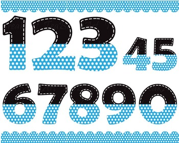 Black and blue numbers with white dots - Digital Clip Art Graphics  (148)