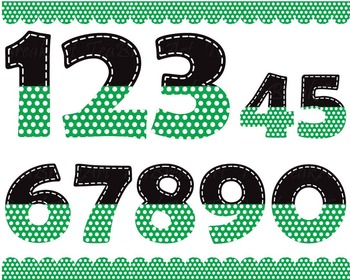 Black and green numbers with white dots - Digital Clip Art Graphics  (150)
