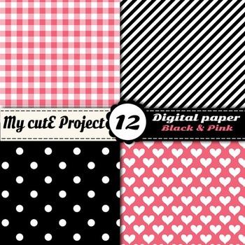 "Black and pink -DIGITAL PAPER - Scrapbooking- A4 & 12x12"" - Stripes, dots..."