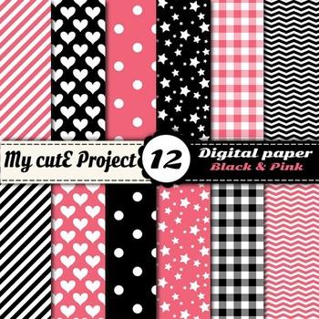 "Black and pink -DIGITAL PAPER - Scrapbooking- A4 & 12x12"""