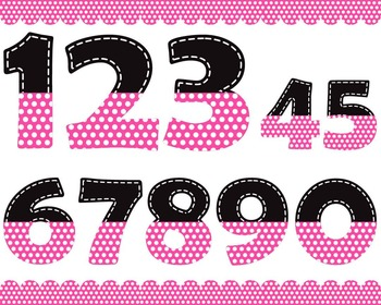 Black and pink numbers with white dots - Digital Clip Art