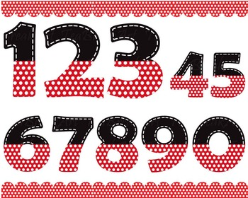 Black and red numbers with white dots - Digital Clip Art G