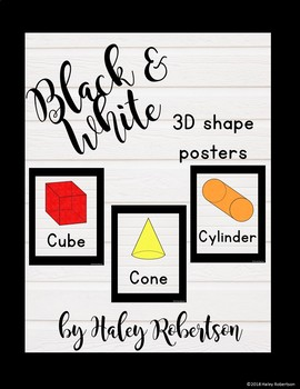 Black and white 3D shape posters