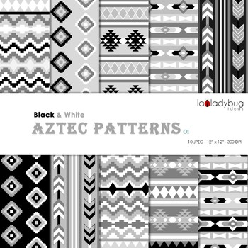 Black and white Aztec patterns Wallpapers. Tribal digital papers.