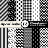 "Black and white  -DIGITAL PAPER - Scrapbooking- A4 & 12x12"" - Stripes, dots..."