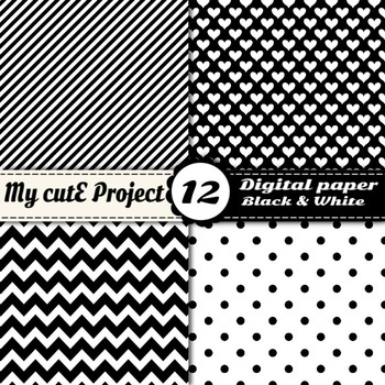 """Black and white  -DIGITAL PAPER - Scrapbooking- A4 & 12x12"""" - Stripes, dots..."""