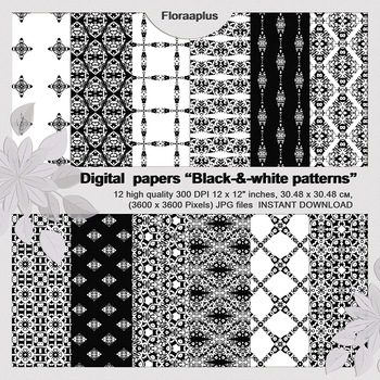 Black and white Digital Scrapbook Paper