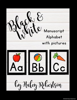 Black and white alphabet WITH pictures