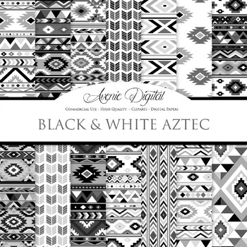 Black and white aztec Digital Paper arrows tribal patterns