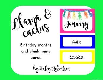 Llama and cactus birthday chart pieces EDITABLE
