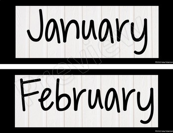 Black and white calendar months