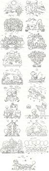 Black and white cartoon illustrations