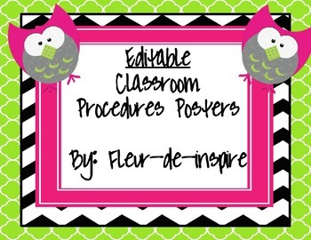 Black and white chevron with an owl Editable Procedures Posters