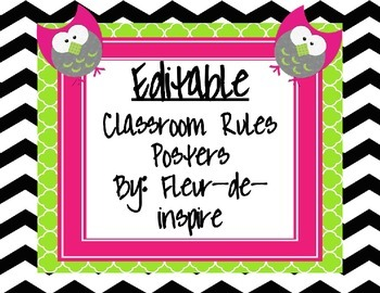 Black and white chevron with owl Editable Rules Posters