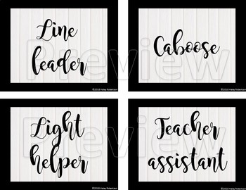 Black and white class jobs chart pieces EDITABLE