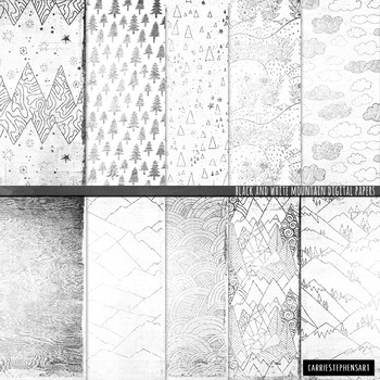 Black & White Digital Paper, Winter Olympic Games, Mountain Background Paper