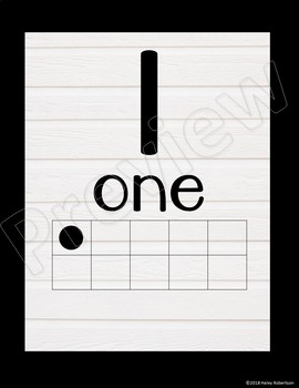 Black and white number posters with ten frames #1-20