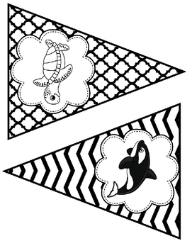 Black and white ocean bunting
