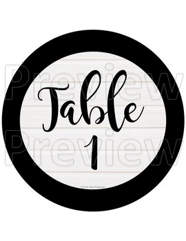 Black and white table numbers- 2 options