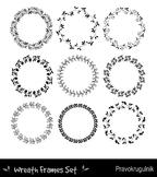 Black borders and frames, Round border clipart, Floral wreath, Leaf circle frame