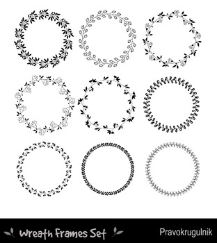 Black borders and frames, Round border clipart, Floral wreath, Leaf circle frame