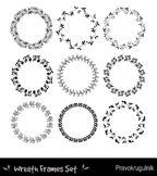 Black borders and frames, Round border clipart, Floral wre