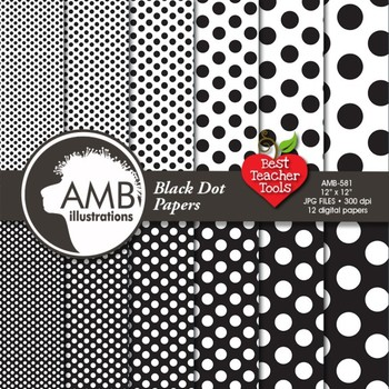 DOTS Digital Paper - Black Dot Pattern Papers and Backgrounds, AMB-581