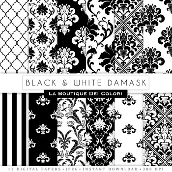 Black damask Digital Paper, scrapbook backgrounds.