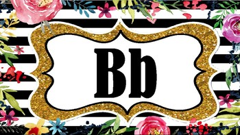 Black gold and floral Alphabet Posters