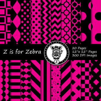Black / hot pink dual tone Digital Paper Pack  - CU ok { ZisforZebra}