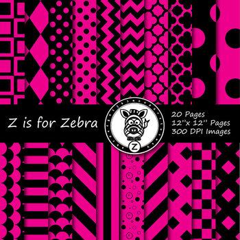 Black / hot pink dual tone Digital Paper Pack  - CU ok { Z