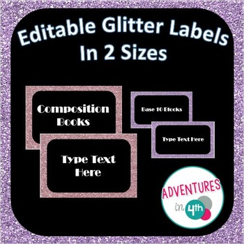 Black labels with Glitter Border