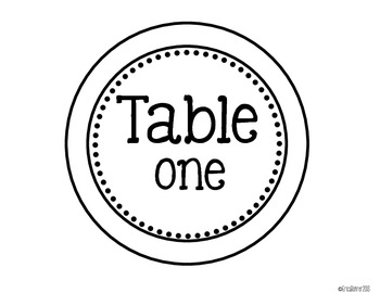 Black-line Master Table Signs (1-10)