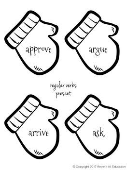 Black & White Winter Grammar Center: Tenses Verb Sort