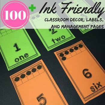 Classroom Theme Brights Ink Friendly print on neon, bright, any color paper