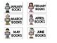 Black on White Book Bin Labels Featuring Melonheadz