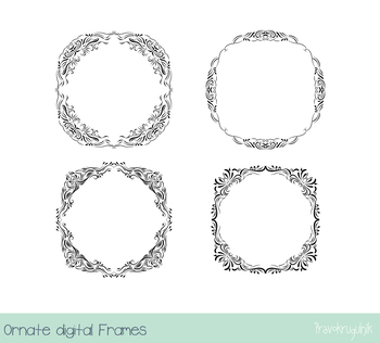 Black ornate borders and frames clipart, Elegant Victorian frame, Wedding design