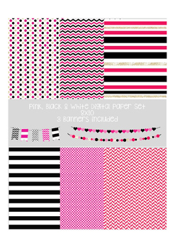 Black, pink and white digital paper and bunting pack