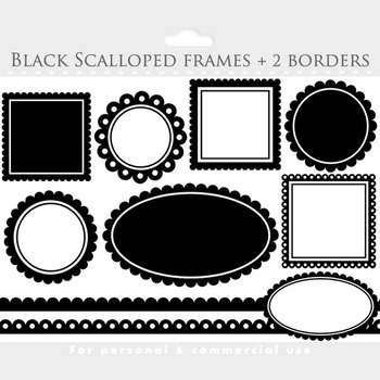 Black scalloped frames clipart - square, circle, oval, borders, frames