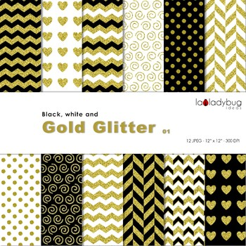 Black, white and golden Wallpapers. Golden digital papers. Backgrounds.