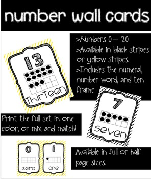 Black/white/yellow number wall cards