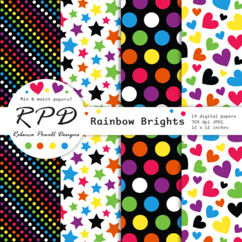 Black, white & rainbow colours digital papers set/ classroom backgrounds