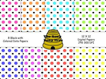 Black with Colored Dots {8 backgrounds for personal & comm