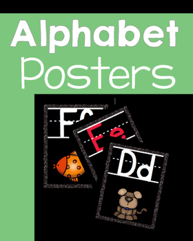 Black with Glitter ALPHABET POSTERS
