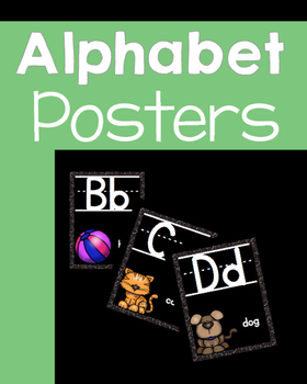 Black with Glitter ALPHABET POSTERS with words