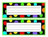 Black with Green Polka Dot Nameplate