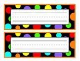 Black with Orange Polka Dot Nameplate